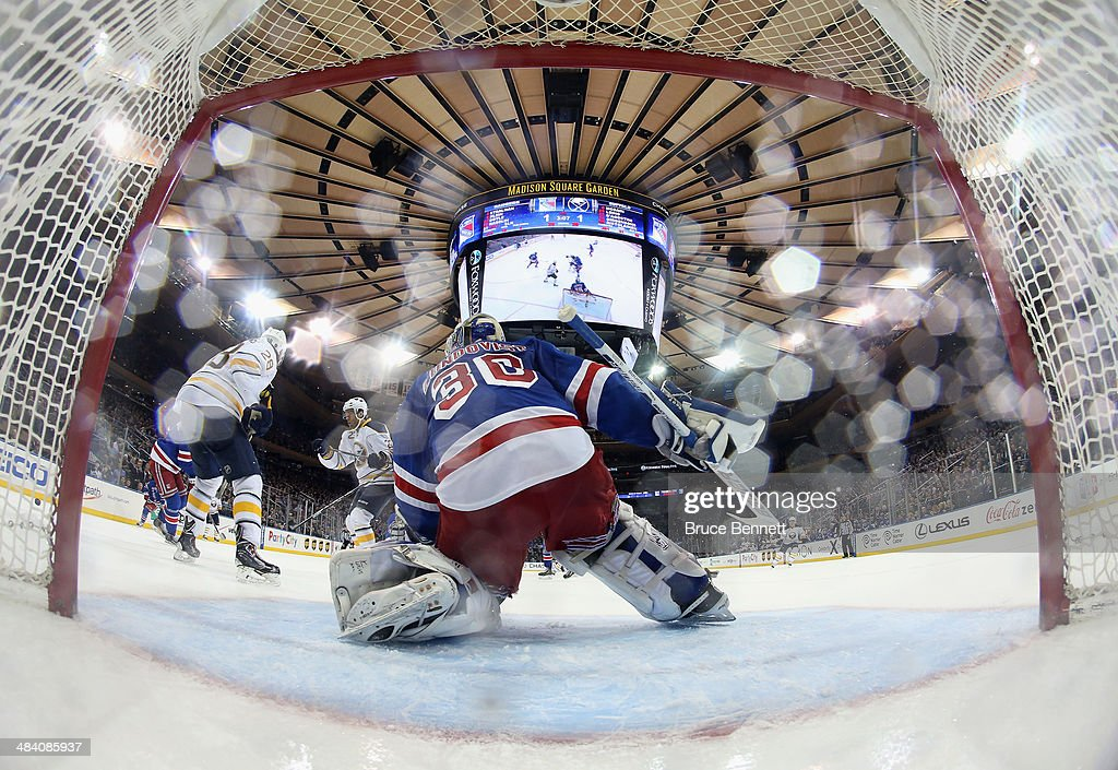 <a gi-track='captionPersonalityLinkClicked' href=/galleries/search?phrase=Henrik+Lundqvist&family=editorial&specificpeople=217958 ng-click='$event.stopPropagation()'>Henrik Lundqvist</a> #30 of the New York Rangers tends net against the Buffalo Sabres at Madison Square Garden on April 10, 2014 in New York City. The Rangers defeated the Sabres 2-1.