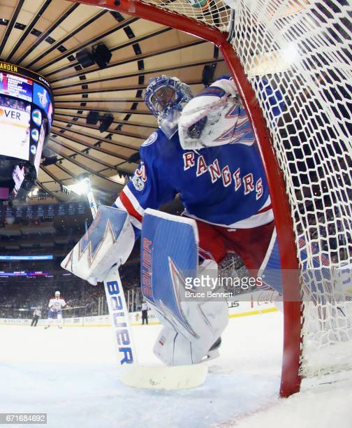Henrik Lundqvist of the New York Rangers tends net against the Montreal Canadiens in Game Six of the Eastern Conference First Round during the 2017...