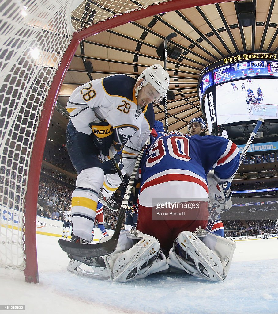 Henrik Lundqvist #30 of the New York Rangers tends net against Zemgus Girgensons #28 of the Buffalo Sabres at Madison Square Garden on April 10, 2014 in New York City. The Rangers defeated the Sabres 2-1.