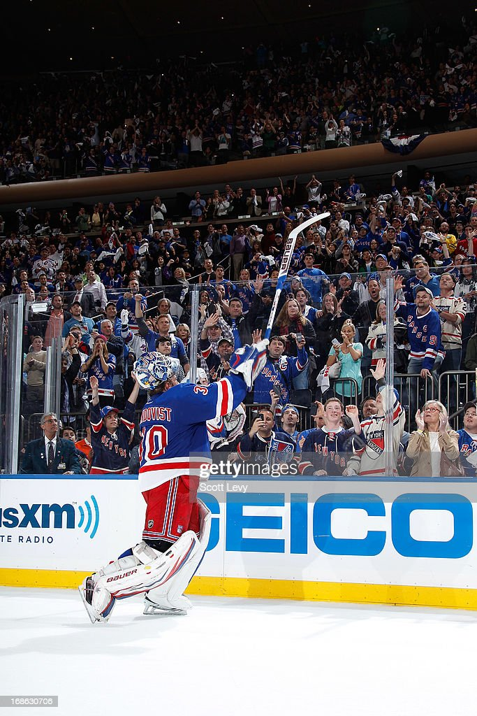 <a gi-track='captionPersonalityLinkClicked' href=/galleries/search?phrase=Henrik+Lundqvist&family=editorial&specificpeople=217958 ng-click='$event.stopPropagation()'>Henrik Lundqvist</a> #30 of the New York Rangers throws his stick into the crowd after being named first star of the game against the Washington Capitals in Game Six of the Eastern Conference Quarterfinals during the 2013 NHL Stanley Cup Playoffs at Madison Square Garden on May 12, 2013 in New York City.