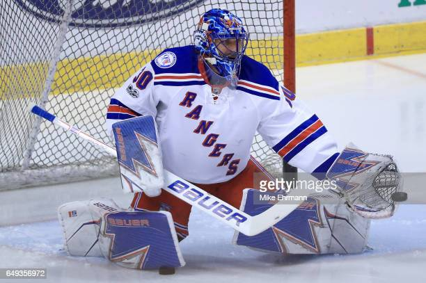 Henrik Lundqvist of the New York Rangers warms up during a game against the Florida Panthers at BBT Center on March 7 2017 in Sunrise Florida