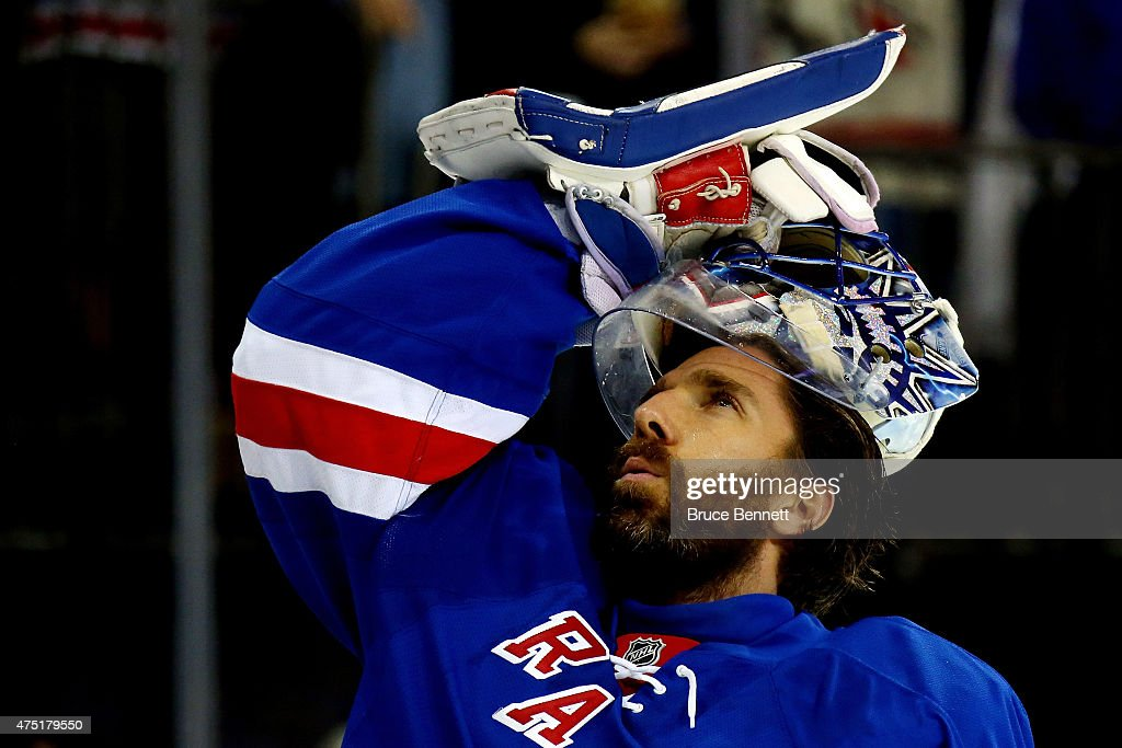 Henrik Lundqvist of the New York Rangers warms up prior to playing against the Tampa Bay Lightning in Game Seven of the Eastern Conference Finals...