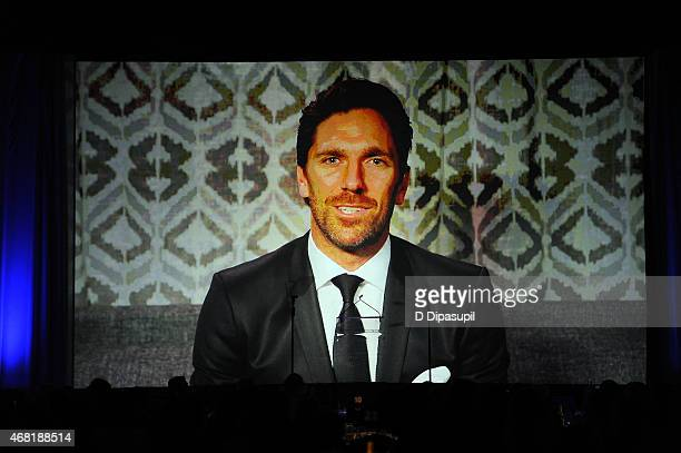 Henrik Lundqvist speaks at the 7th Annual PFLAG National Straight For Equality Awards Gala at The New York Marriott Marquis on March 30 2015 in New...