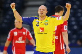 Henrik Lundstroem of Sweden celebrates a goal during the Men's European Handball Championship second round group one match between Poland and Sweden...