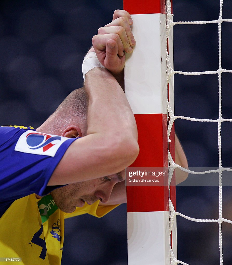 Henrik Lundstrom looks dejected during the Men's European Handball Championship 2012 group 1 match between Poland and Sweden at Belgrade Arena Hall on January 21, 2011 in Belgrade, Serbia.