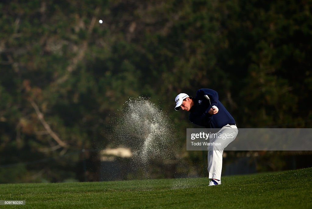 Henrik Norlander of Sweden plays a shot from a bunker on the 10th hole during the second round of the AT&T Pebble Beach National Pro-Am at the Pebble Beach Golf Links on February 12, 2016 in Pebble Beach, California.
