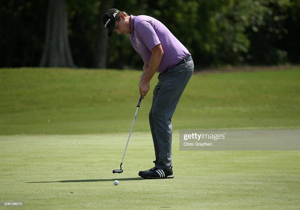 Henrik Norlander of Sweden putts on the eighth hole during the second round of the Zurich Classic of New Orleans at TPC Louisiana on April 29, 2016 in Avondale, Louisiana.