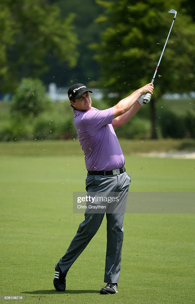 Henrik Norlander of Sweden takes his second shot on the first hole during the second round of the Zurich Classic of New Orleans at TPC Louisiana on April 29, 2016 in Avondale, Louisiana.