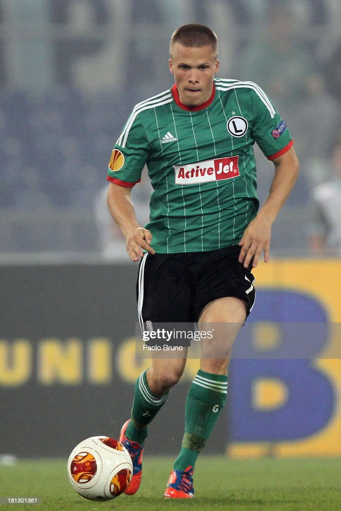 Henrik Ojamaa of Legia Warszawa in action during the Uefa Europa League Group J match between SS Lazio and Legia Warszawa at Stadio Olimpico on September 19, 2013 in Rome, Italy.