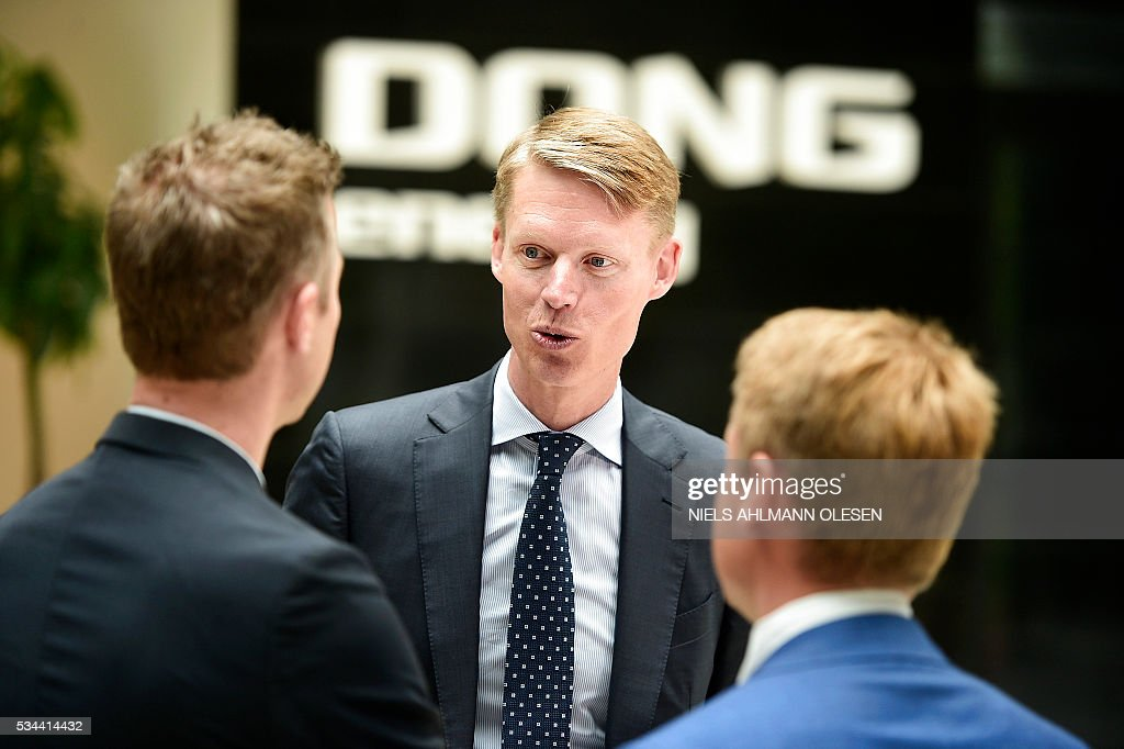 Henrik Poulsen, CEO of Dong Energy, speaks to media on May 26, 2016 in Copenhagen during the company's entrance at the stock market. Danish utility and offshore wind farm operator Dong Energy said that it could be valued at up to 106.5 billion kroner (14.3 billion euros, $16.0 billion) in what is expected to be Denmark's biggest initial public offering (IPO). / AFP / Scanpix Denmark / Niels Ahlmann Olesen / Denmark OUT