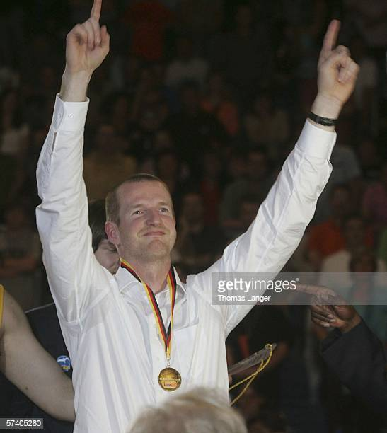 Henrik Roedl headcoach of Alba Berlin celebrates after the final match of the Top Four German Basketball Bundesliga Cup between GHP Bamberg and Alba...