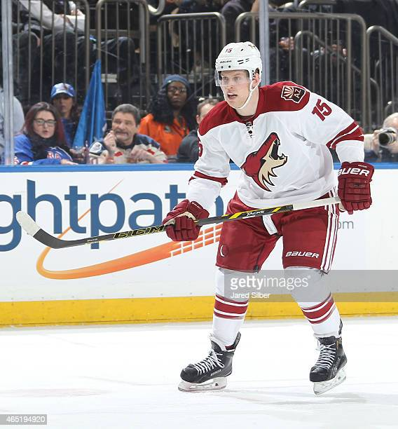 Henrik Samuelsson of the Arizona Coyotes skates against the New York Rangers at Madison Square Garden on February 26 2015 in New York City The New...