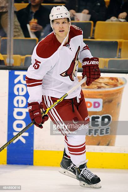 Henrik Samuelsson of the Arizona Coyotes skates during warm ups before the game against the Boston Bruins at the TD Garden on February 28 2015 in...