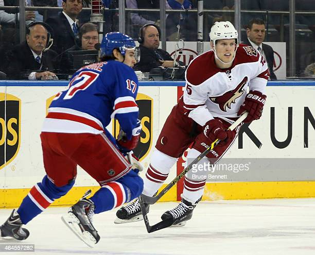 Henrik Samuelsson of the Arizona Coyotes skates in his first NHL game against the New York Rangers at Madison Square Garden on February 26 2015 in...