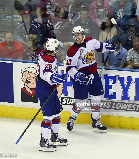 Henrik Samuelsson of the Edmonton Oil Kings celebrates his third period goal against the Guelph Storm during the 2014 Memorial Cup championship game...