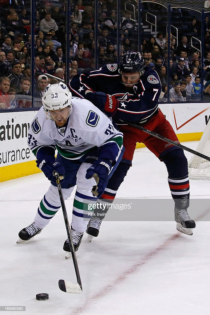 <a gi-track='captionPersonalityLinkClicked' href=/galleries/search?phrase=Henrik+Sedin&family=editorial&specificpeople=202574 ng-click='$event.stopPropagation()'>Henrik Sedin</a> #33 of the Vancouver Canucks and Jack Johnson #7 of the Columbus Blue Jackets battle for control of the puck during the third period on March 12, 2013 at Nationwide Arena in Columbus, Ohio. Vancouver defeated Columbus 2-1 in a shootout.