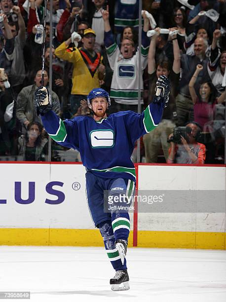 Henrik Sedin of the Vancouver Canucks celebrates his second period goal against the Dallas Stars during game seven 2007 Western Conference...