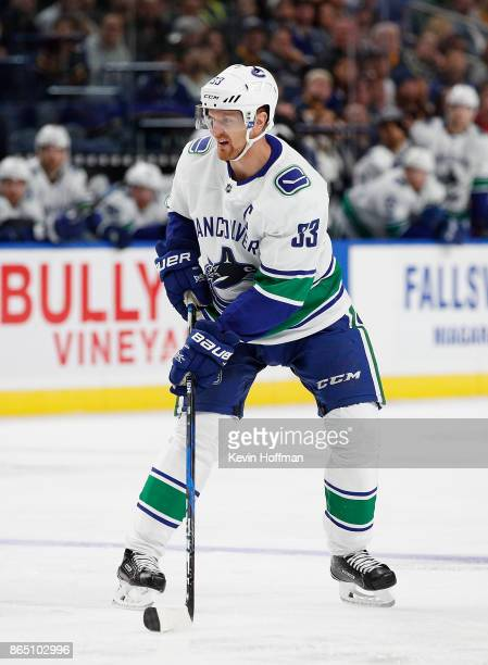 Henrik Sedin of the Vancouver Canucks during the game against the Buffalo Sabres at the KeyBank Center on October 20 2017 in Buffalo New York