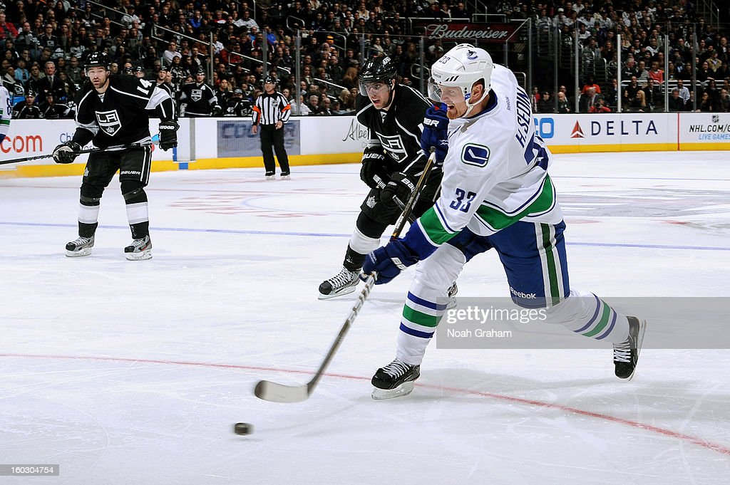 Henrik Sedin #33 of the Vancouver Canucks takes a shot against the Los Angeles Kings at Staples Center on January 28, 2013 in Los Angeles, California.