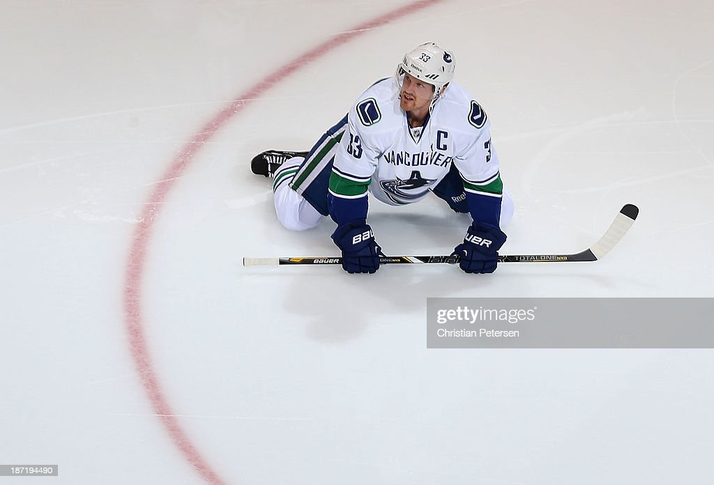 <a gi-track='captionPersonalityLinkClicked' href=/galleries/search?phrase=Henrik+Sedin&family=editorial&specificpeople=202574 ng-click='$event.stopPropagation()'>Henrik Sedin</a> #33 of the Vancouver Canucks warms up before the NHL game against the Phoenix Coyotes at Jobing.com Arena on November 5, 2013 in Glendale, Arizona. The Coyotes defeated the Canucks 3-2 in an overtime shoot out.