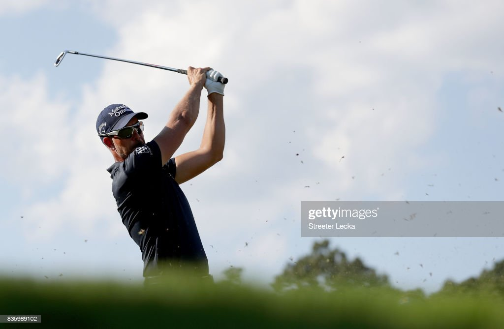 Henrik Stenson hits a tee shot on the 16th hole during the final round of the Wyndham Championship at Sedgefield Country Club on August 20, 2017 in Greensboro, North Carolina.