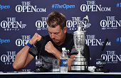 Henrik Stenson of Sweden attends a press conference alongside the Claret Jug after victory in the final round on day four of the 145th Open...