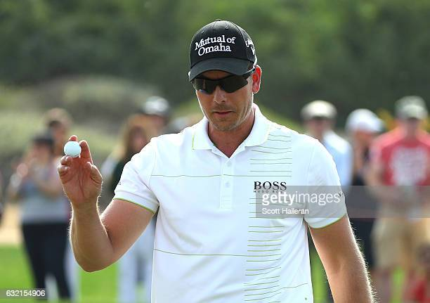 Henrik Stenson of Sweden celebrates a birdie on the 8th during the second round of the Abu Dhabi HSBC Championship at the Abu Dhabi Golf Club on...