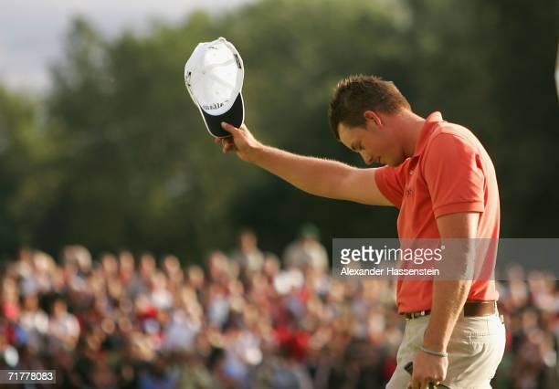 Henrik Stenson of Sweden celebrates the holing winning put at the 18th hole during the BMW International Open 2006 Final Round at the Eichenried Golf...