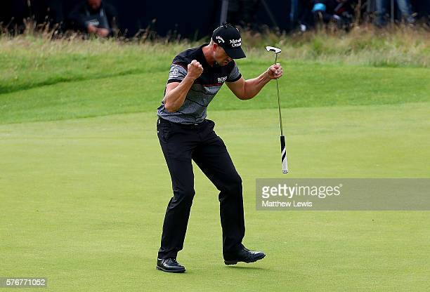 Henrik Stenson of Sweden celebrates victory after the winning putt during the final round on day four of the 145th Open Championship at Royal Troon...