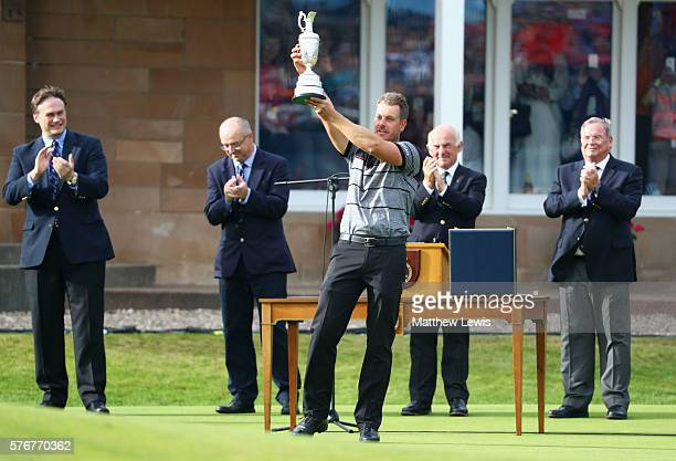 Henrik Stenson of Sweden celebrates victory with the Claret Jug after the final round on day four of the 145th Open Championship at Royal Troon on...