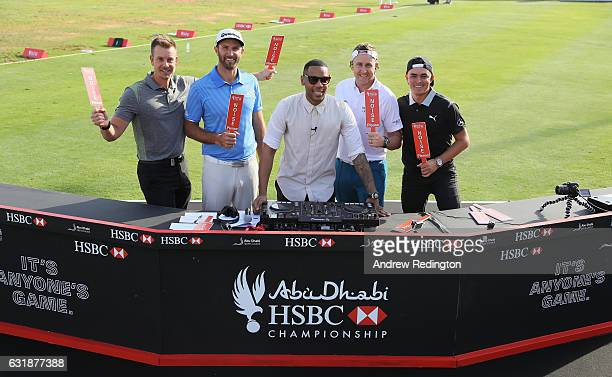 Henrik Stenson of Sweden Dustin Johnson of the USA DJ Reggie Yates Ian Poulter of England and Rickie Fowler of the USA are pictured during a...