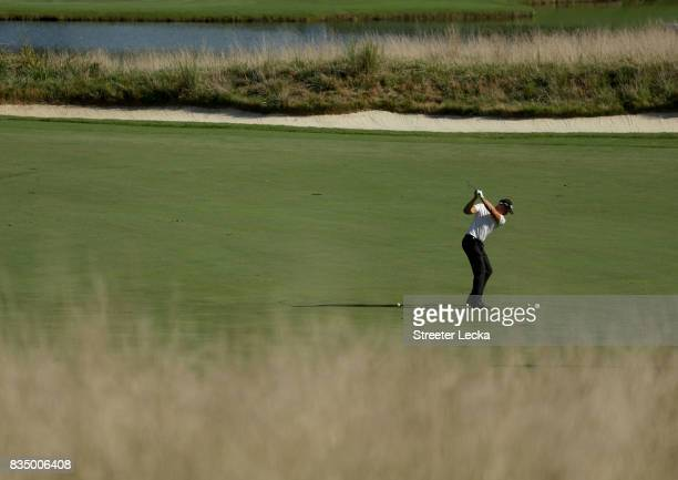 Henrik Stenson of Sweden hits a shot on the 15th hole during the second round of the Wyndham Championship at Sedgefield Country Club on August 18...