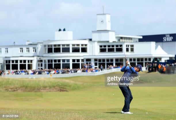 Henrik Stenson of Sweden hits his second shot on the 18th hole during the first round of the 146th Open Championship at Royal Birkdale on July 20...