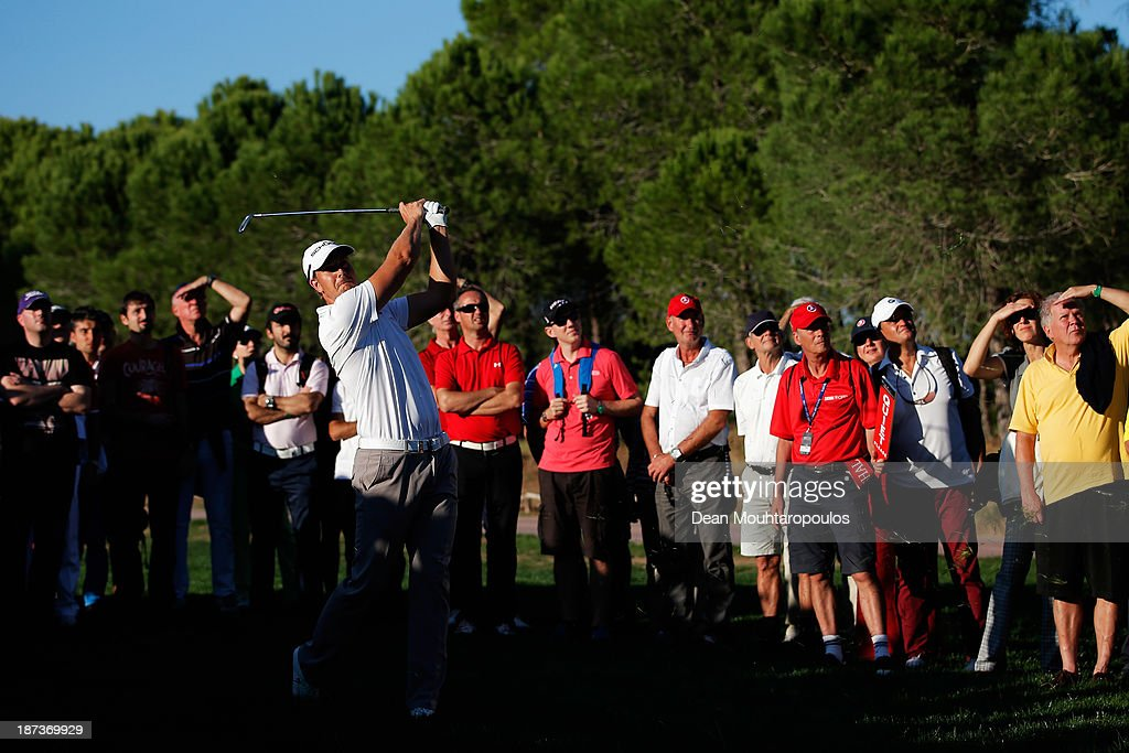 Henrik Stenson of Sweden hits his second shot the 17th hole during the second round of the Turkish Airlines Open at The Montgomerie Maxx Royal Course on November 8, 2013 in Antalya, Turkey.