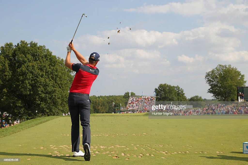 Henrik Stenson of Sweden hits his tee shot on the 11th hole during the third round of The Barclays at Plainfield Country Club on August 29, 2015 in Edison, New Jersey.