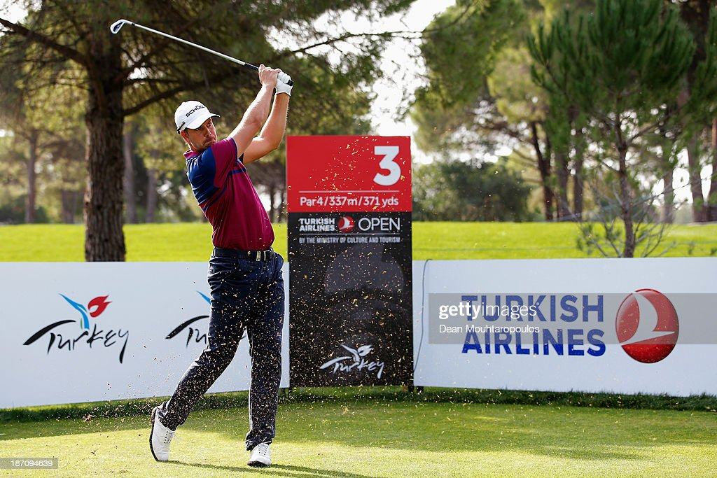 Henrik Stenson of Sweden hits his tee shot on the 3rd hole during the pro-am as a preview for the Turkish Airlines Open at Montgomerie Maxx Royal Course on November 6, 2013 in Antalya, Turkey.