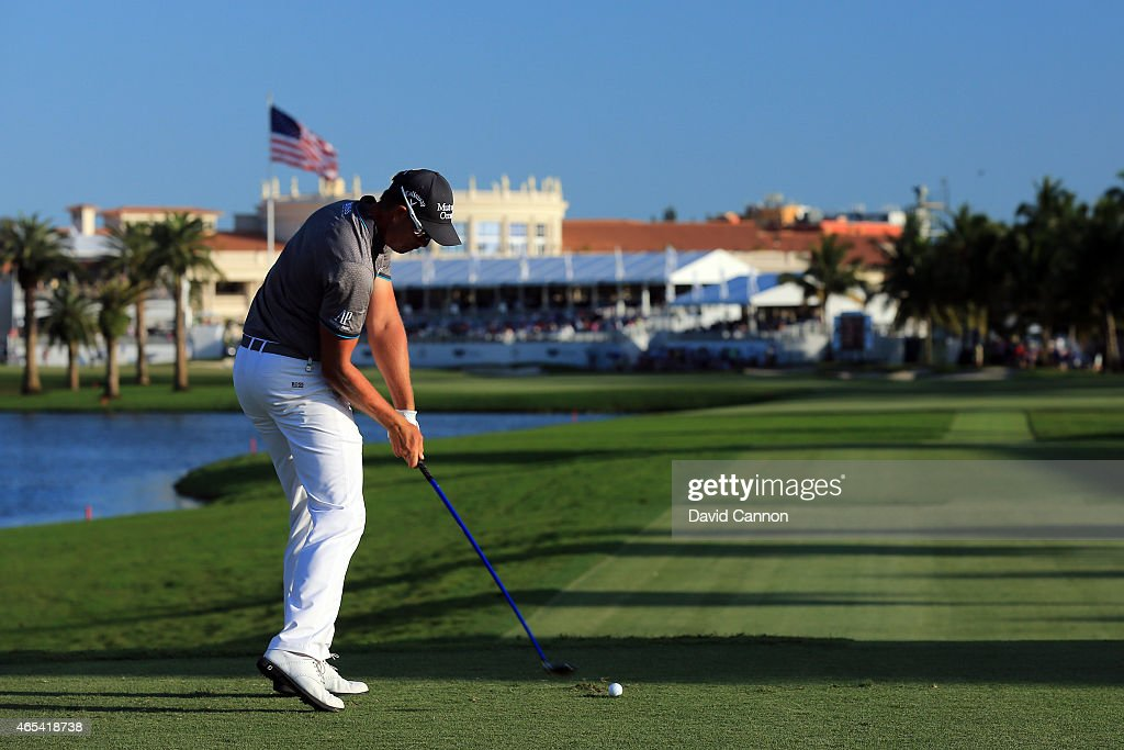 Henrik Stenson of Sweden hits his tee shot on the eighteenth hole during the second round of the World Golf Championships-Cadillac Championship at Trump National Doral Blue Monster Course on March 6, 2015 in Doral, Florida.
