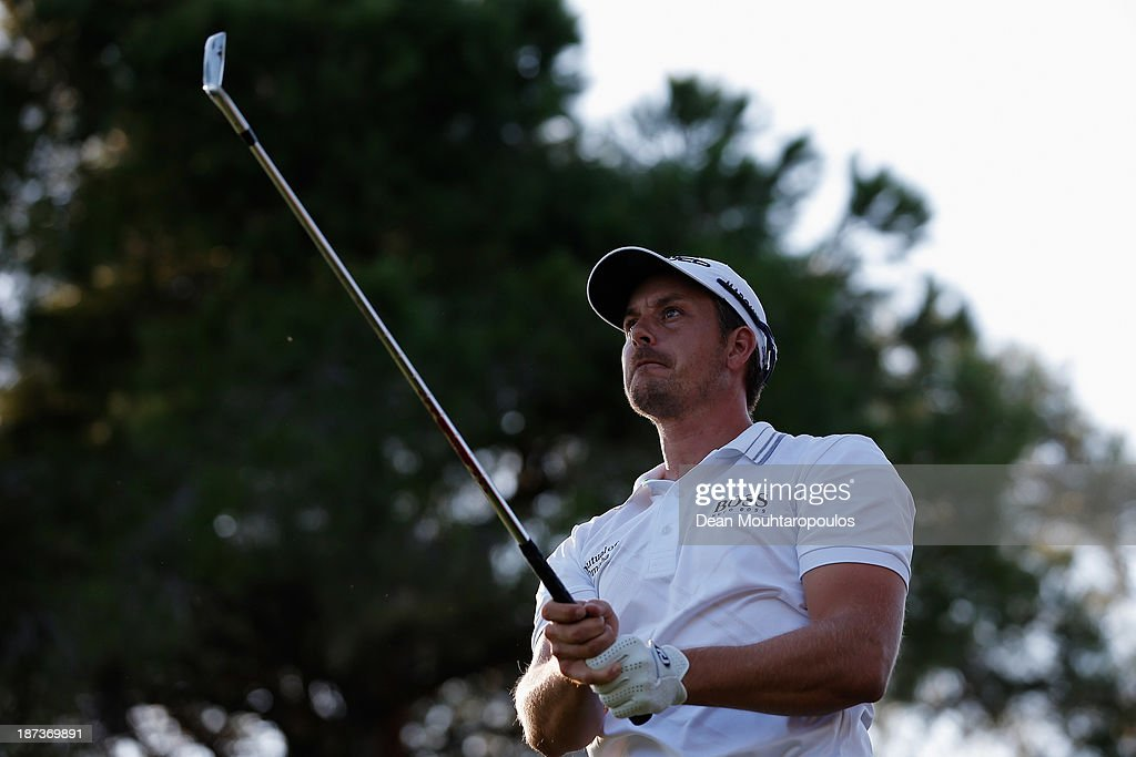 Henrik Stenson of Sweden hits his tee shot the 16th hole during the second round of the Turkish Airlines Open at The Montgomerie Maxx Royal Course on November 8, 2013 in Antalya, Turkey.