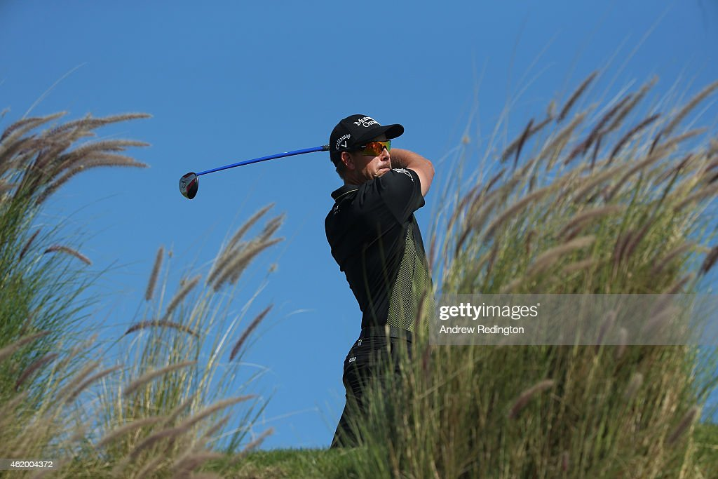 Henrik Stenson of Sweden hits his teeshot on the 16th hole during the third round of the Commercial Bank Qatar Masters at Doha Golf Club on January...