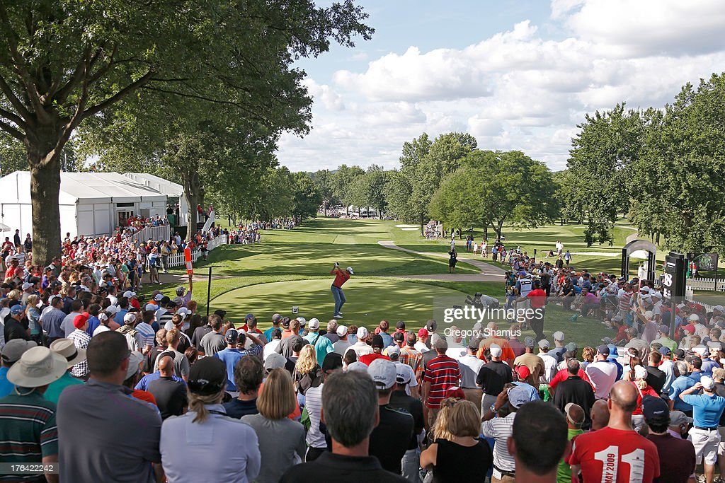 <a gi-track='captionPersonalityLinkClicked' href=/galleries/search?phrase=Henrik+Stenson&family=editorial&specificpeople=211537 ng-click='$event.stopPropagation()'>Henrik Stenson</a> of Sweden hits off the 18th tee during the Final Round of the World Golf Championships-Bridgestone Invitational at Firestone Country Club South Course on August 4, 2013 in Akron, Ohio.