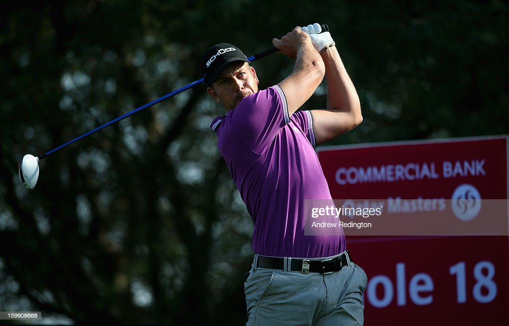 <a gi-track='captionPersonalityLinkClicked' href=/galleries/search?phrase=Henrik+Stenson&family=editorial&specificpeople=211537 ng-click='$event.stopPropagation()'>Henrik Stenson</a> of Sweden in action during the first round of the Commercial Bank Qatar Masters held at Doha Golf Club on January 23, 2013 in Doha, Qatar.