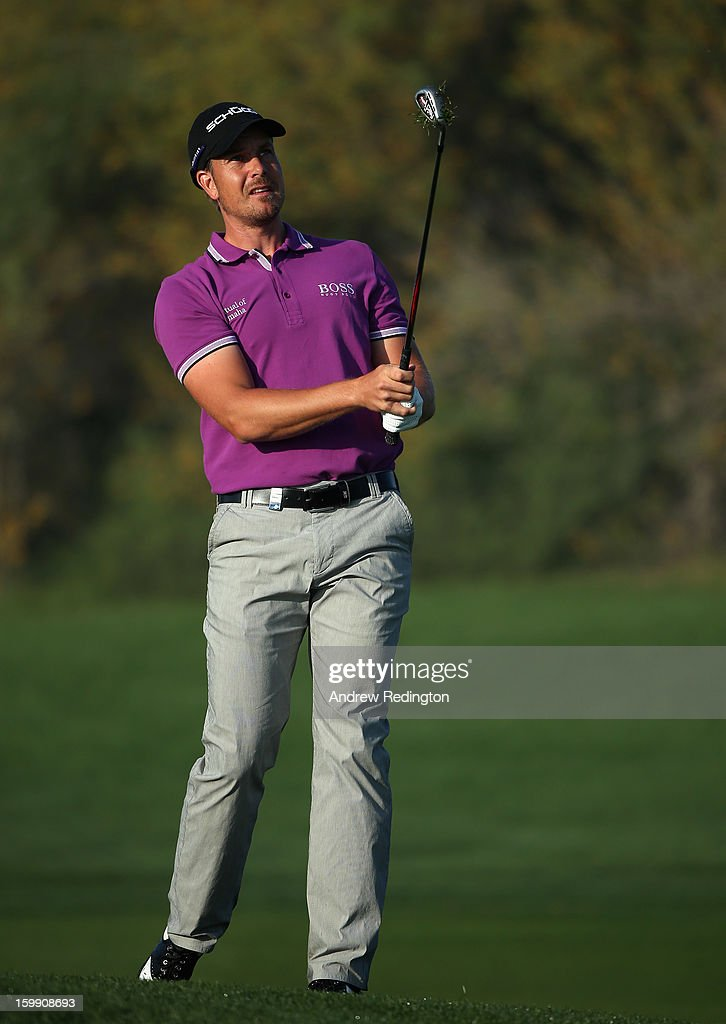 Henrik Stenson of Sweden in action during the first round of the Commercial Bank Qatar Masters held at Doha Golf Club on January 23, 2013 in Doha, Qatar.