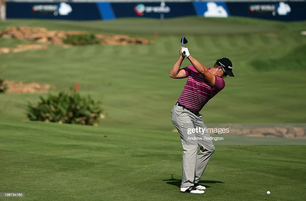 Henrik Stenson of Sweden in action during the Pro Am prior to the start of the Dubai World Championship on the Earth Course at Jumeirah Golf Estates on November 20, 2012 in Dubai, United Arab Emirates.