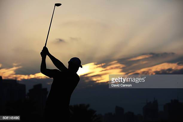 Henrik Stenson of Sweden in action during the proam as a preview for the 2016 Omega Dubai Desert Classic on the Majlis Course at the Emirates Golf...