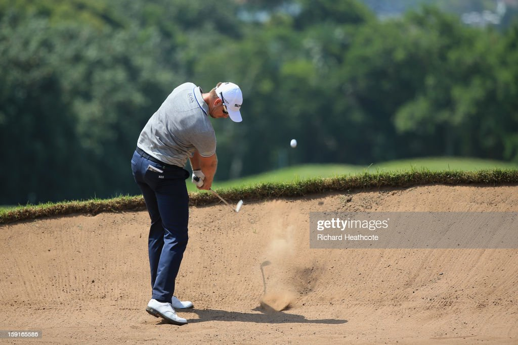 <a gi-track='captionPersonalityLinkClicked' href=/galleries/search?phrase=Henrik+Stenson&family=editorial&specificpeople=211537 ng-click='$event.stopPropagation()'>Henrik Stenson</a> of Sweden in action during the Pro-Am for the Volvo Champions at Durban Country Club on January 9, 2013 in Durban, South Africa.
