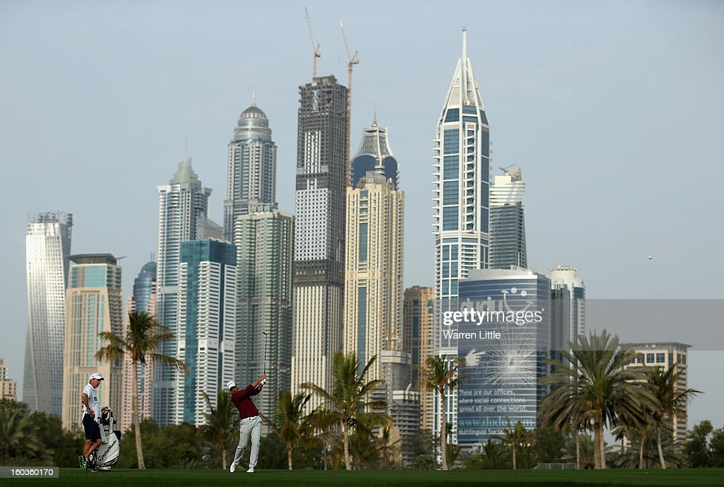 Henrik Stenson of Sweden in action during the pro-am of the Omega Dubai Desert Classic at Emirates Golf Club on January 30, 2013 in Dubai, United Arab Emirates.