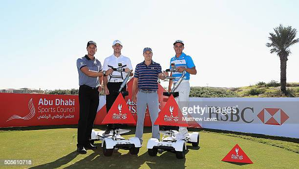 Henrik Stenson of Sweden Jordan Spieth and Rickie Fowler of the United States and Rory McIlroy of Northern Ireland pictured during a photocall with...