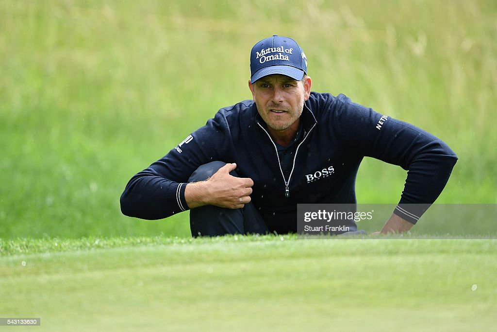Henrik Stenson of Sweden lines up a putt during the final round of the BMW International Open at Gut Larchenhof on June 26, 2016 in Cologne, Germany.