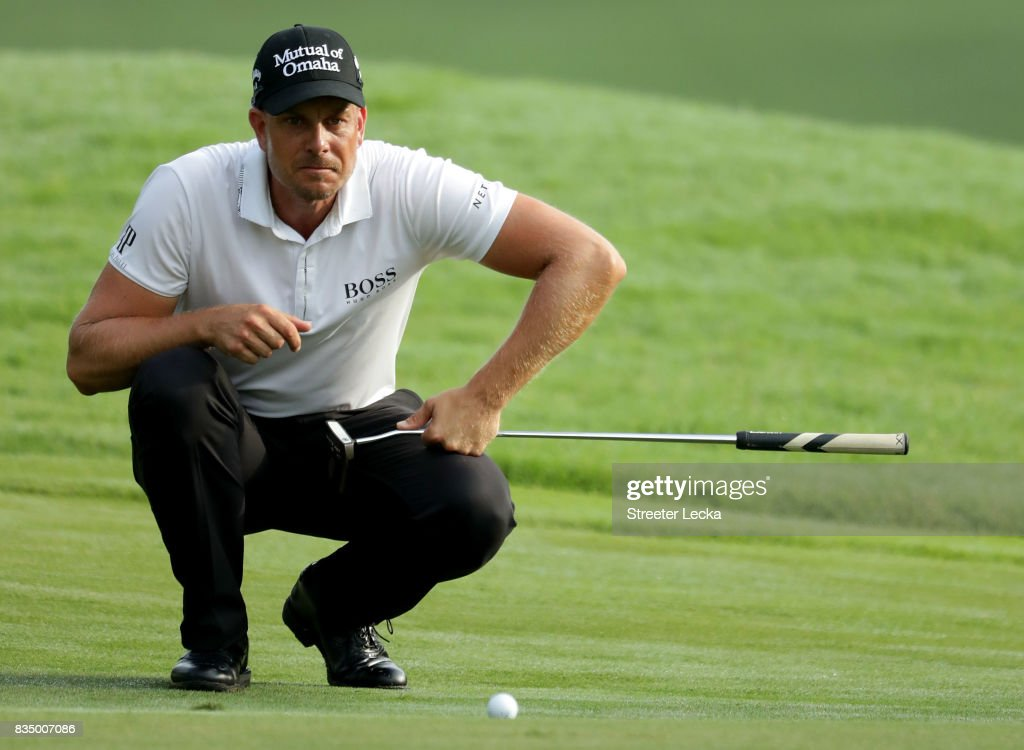 Henrik Stenson of Sweden lines up a putt on the 11th during the second round of the Wyndham Championship at Sedgefield Country Club on August 18, 2017 in Greensboro, North Carolina.