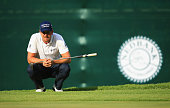 Henrik Stenson of Sweden lines up a putt on the 8th green during day one of the Nedbank Golf Challenge at Gary Player CC on December 3 2015 in Sun...